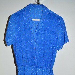 Vintage Blue Multi-Color Polka Dot Dress